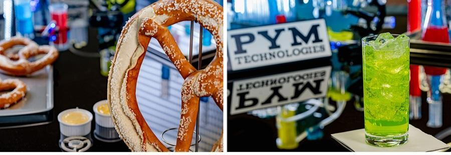 A side by side image of a giant pretzel and a bright green beverage