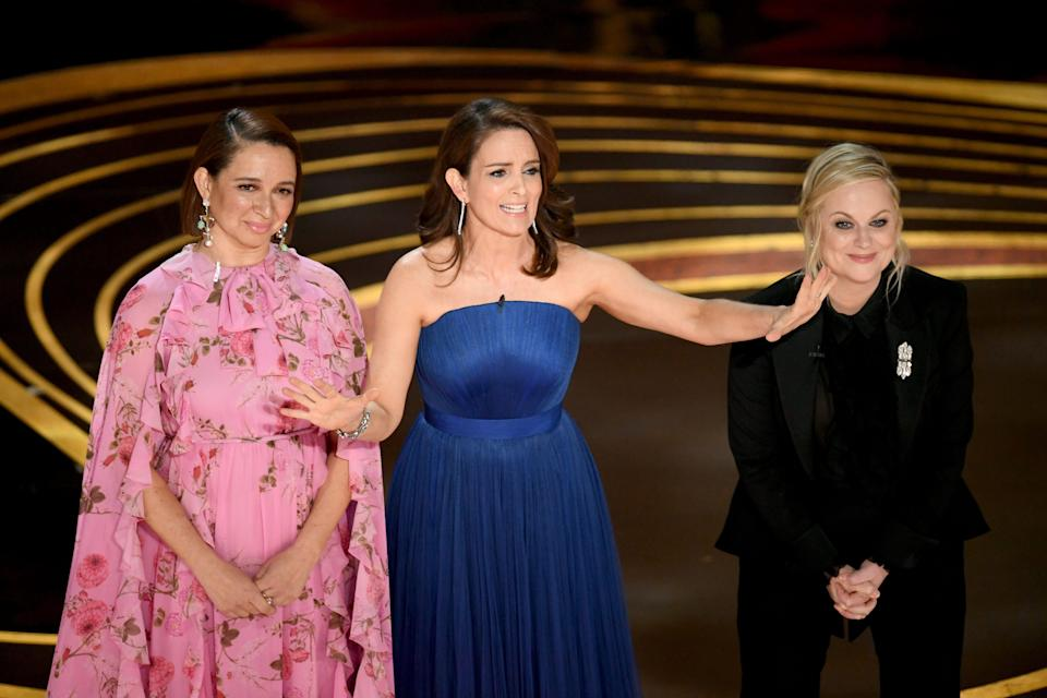 Maya Rudolph, Tina Fey, and Amy Poehler speak during the 91st Annual Academy Awards