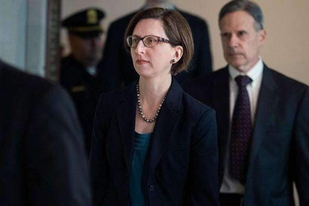 PHOTO: Laura Cooper, Deputy Assistant Secretary of Defense, arrives to the Capitol for a deposition related to the House's impeachment inquiry on Oct. 23, 2019. (CQ-Roll Call via Getty Images, FILE)