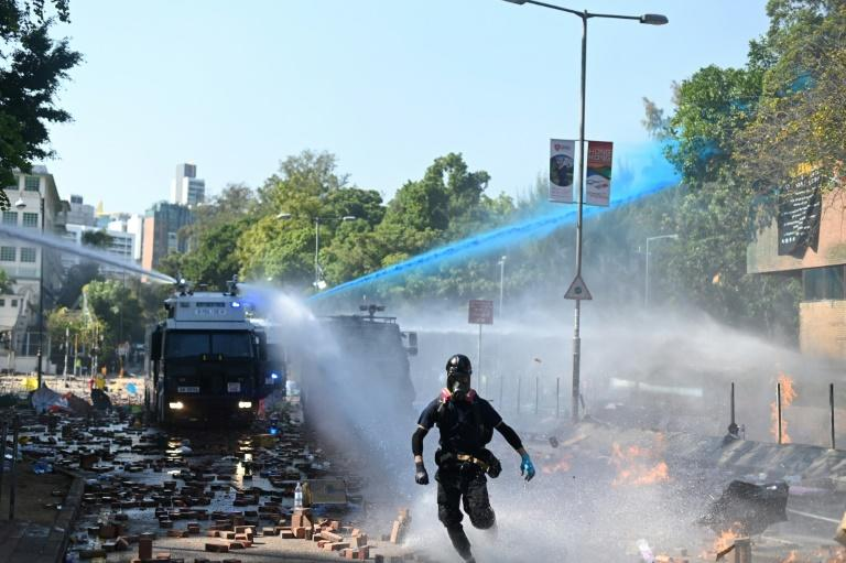 Hong Kong police have used water cannon and tear gas against activists