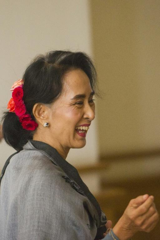 Chairperson of the National League for Democracy (NLD) Aung San Suu Kyi attends the last day of the parliament's lower house regular session in Naypyidaw on January 28, 2016