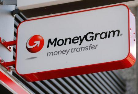 A Moneygram logo is seen outside a bank in Vienna