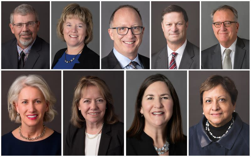 A combination handout photo shows members of the U.S. Federal Reserve Bank of Minneapolis in 2020