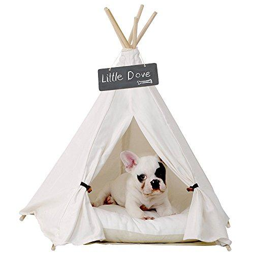 little dove Pet Teepee Dog(Puppy) & Cat Bed - Portable Pet Tents & Houses for Dog(Puppy) & Cat Beige Color 24 Inch with Thick Cushion (Amazon / Amazon)