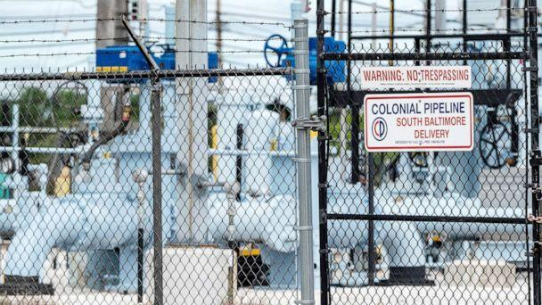 PHOTO: Signage delivers warnings at Colonial Pipeline Baltimore Delivery in Baltimore, May 10, 2021. (Jim Watson/AFP via Getty Images)