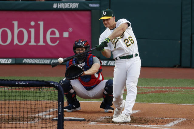 Matt Chapman, of the Oakland Athletics, hits during the Major League Baseball Home Run Derby, Monday, July 8, 2019, in Cleveland. The MLB baseball All-Star Game will be played Tuesday. (AP Photo/Ron Schwane)