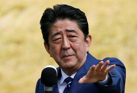 Japan's Prime Minister Shinzo Abe, who is also ruling Liberal Democratic Party leader, attends an election campaign rally in Fukushima