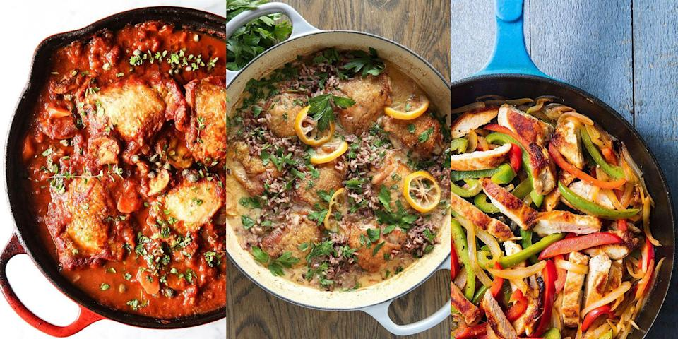 "<p>It doesn't get easier than throwing in some <a href=""https://www.delish.com/uk/cooking/recipes/g29843799/healthy-chicken-breast-recipes/"" rel=""nofollow noopener"" target=""_blank"" data-ylk=""slk:chicken breast"" class=""link rapid-noclick-resp"">chicken breast</a> (or <a href=""https://www.delish.com/uk/cooking/recipes/g30242756/chicken-thigh-recipes/"" rel=""nofollow noopener"" target=""_blank"" data-ylk=""slk:chicken thighs"" class=""link rapid-noclick-resp"">chicken thighs</a>, obvs) and getting to work on a one-pot recipe that requires barely any fuss on your part. And really, there's so many one-pot chicken recipes out there! <a href=""https://www.delish.com/uk/cooking/recipes/a35818656/easy-chicken-pie/"" rel=""nofollow noopener"" target=""_blank"" data-ylk=""slk:One-Pot Chicken Pie"" class=""link rapid-noclick-resp"">One-Pot Chicken Pie</a>, <a href=""https://www.delish.com/uk/cooking/recipes/a28852601/one-pot-chicken-alfredo-recipe/"" rel=""nofollow noopener"" target=""_blank"" data-ylk=""slk:Chicken Alfredo"" class=""link rapid-noclick-resp"">Chicken Alfredo</a>, <a href=""https://www.delish.com/uk/cooking/recipes/a30014156/easy-chicken-cacciatore-recipe/"" rel=""nofollow noopener"" target=""_blank"" data-ylk=""slk:Chicken Cacciatore"" class=""link rapid-noclick-resp"">Chicken Cacciatore</a> and more, the options are endless. So, if you're after some fuss-free, minimal washing up one-pot <a href=""https://www.delish.com/uk/cooking/recipes/g34270484/easy-chicken-recipes/"" rel=""nofollow noopener"" target=""_blank"" data-ylk=""slk:chicken recipes"" class=""link rapid-noclick-resp"">chicken recipes</a> to make up this week's <a href=""https://www.delish.com/uk/cooking/recipes/g33530905/chicken-weeknight-dinners/"" rel=""nofollow noopener"" target=""_blank"" data-ylk=""slk:dinner menu"" class=""link rapid-noclick-resp"">dinner menu</a>, then we have you covered! </p><p>Looking for more One-Pot recipes? We've got TONS! </p>"