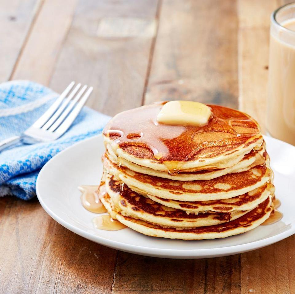"<p>Look no further for the perfect homemade pancake recipe! Served with some oven-baked bacon, <a href=""https://www.delish.com/uk/cooking/recipes/a29577587/english-breakfast-traybake/"" rel=""nofollow noopener"" target=""_blank"" data-ylk=""slk:breakfast"" class=""link rapid-noclick-resp"">breakfast</a> couldn't be any more perfect.</p><p>Get the <a href=""https://www.delish.com/uk/cooking/recipes/a30413750/perfect-pancakes-recipe/"" rel=""nofollow noopener"" target=""_blank"" data-ylk=""slk:Classic Pancakes"" class=""link rapid-noclick-resp"">Classic Pancakes</a> recipe. </p>"