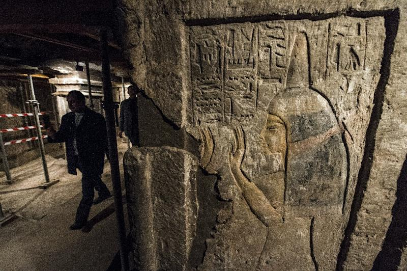 A relief inside the tomb of Maia, the wet-nurse of legendary Egyptian boy king Tutankhamun, in Saqqara, about 35 kms south of Cairo on December 20, 2015 (AFP Photo/Khaled Desouki)