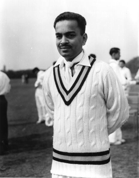 April 1959:  Indian right-arm spin bowler S P Gupte.  (Photo by Dennis Oulds/Central Press/Getty Images)