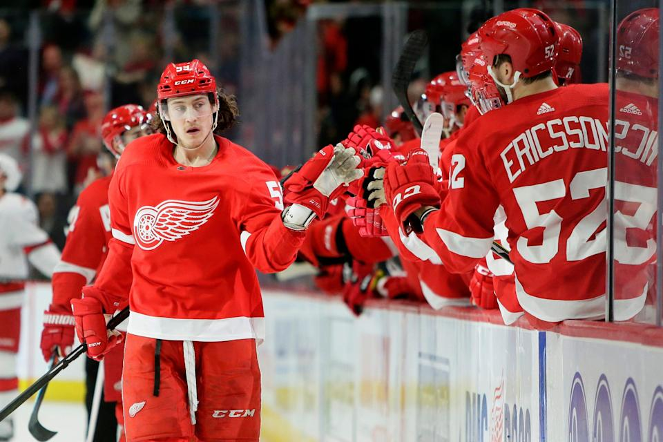 Detroit Red Wings left wing Tyler Bertuzzi celebrates his first-period goal against the Carolina Hurricanes, Tuesday, March 10, 2020, in Detroit.