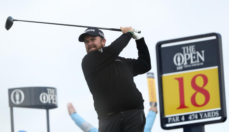 Ireland's Shane Lowry plays his tee shot on the 18th hole during the first round of the British Open Golf Championships at Royal Portrush in Northern Ireland, Thursday, July 18, 2019.(AP Photo/Jon Super)