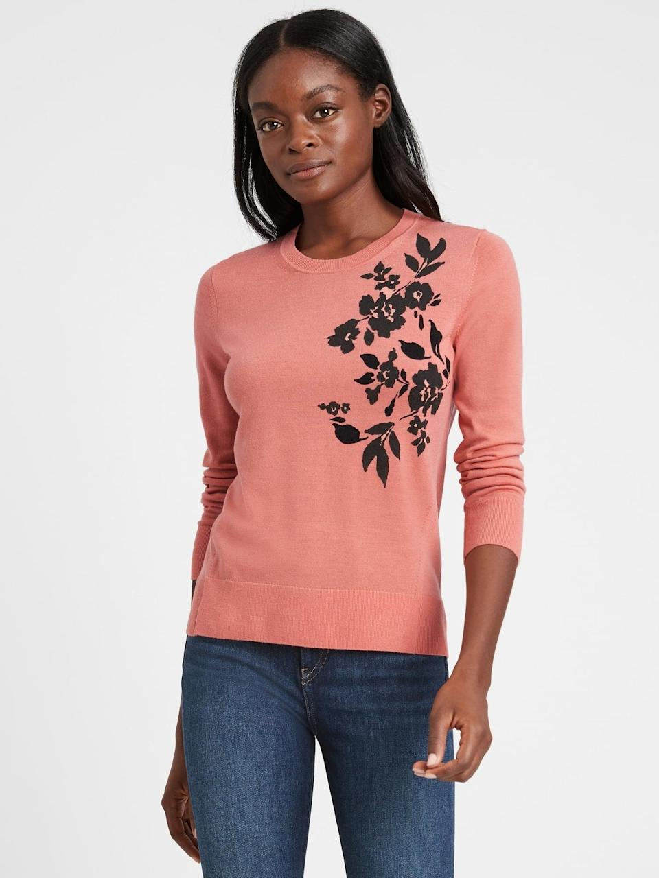 <p>We love this eye catching floral motif on the <span>Banana Republic Washable Merino Floral Sweater</span> ($90).</p>