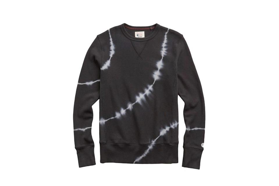 "$148, Todd Snyder. <a href=""https://www.toddsnyder.com/collections/best-of-sale/products/tie-dye-sweatshirt-black"" rel=""nofollow noopener"" target=""_blank"" data-ylk=""slk:Get it now!"" class=""link rapid-noclick-resp"">Get it now!</a>"