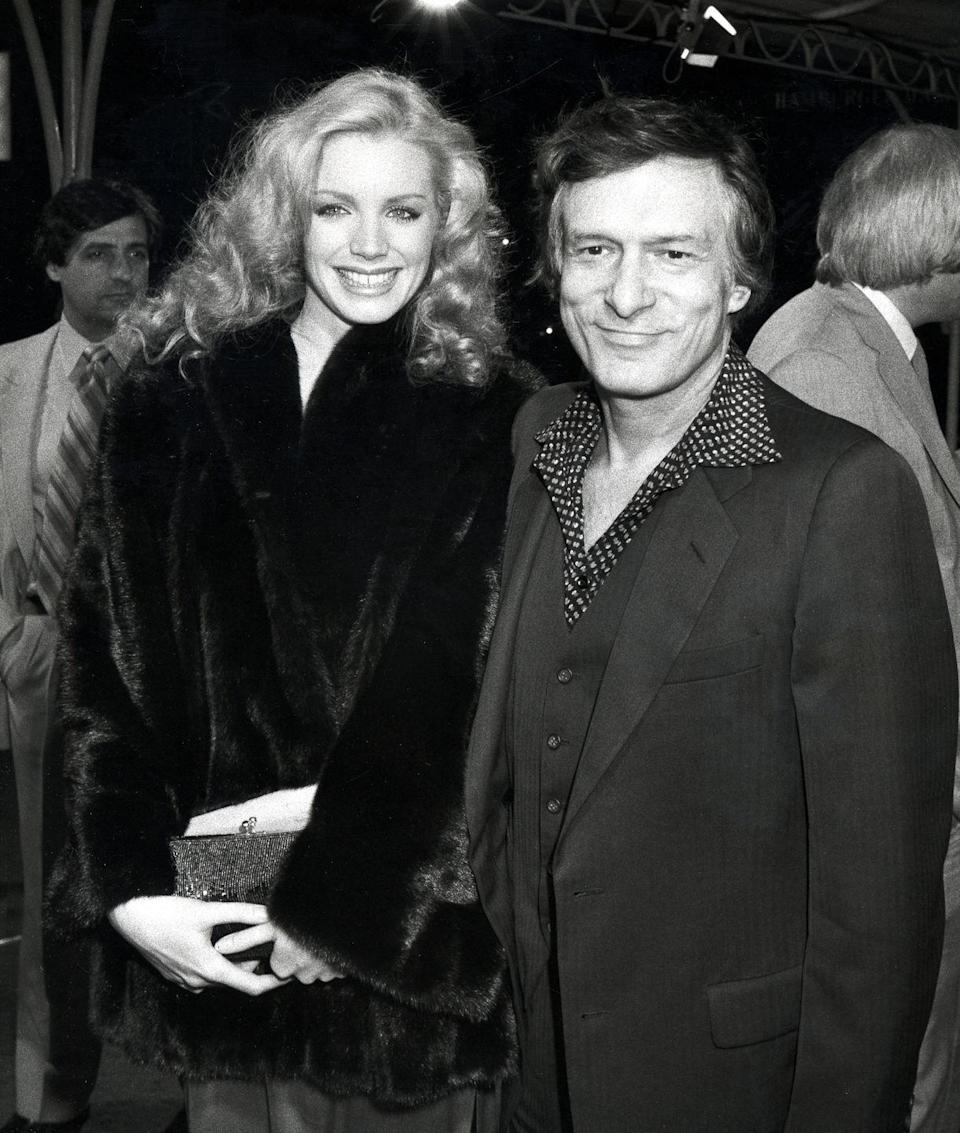 <p>Playboy founder Hugh Hefner and model Shannon Tweed stand together for a photo at the 1982 premiere of <em>Wrong is Right</em>. </p>
