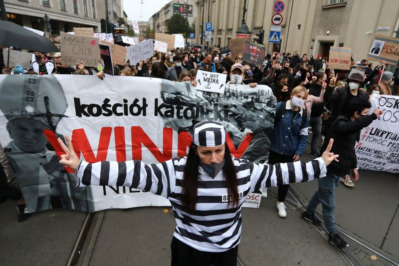 People protest against imposing further restrictions on abortion law in Krakow