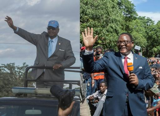 The election is practically a two-horse race between President Peter Mutharika, left, and his main rival Lazarus Chakwera, who lost the last election by 159,000 votes