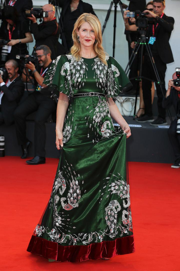 Demonstrating her sartorial prowess in front of the cameras, Laura Dern chose an emerald green Gucci frock complete with a velvet trim for the premiere of 'Marriage Story'. <em>[Photo: Getty]</em>