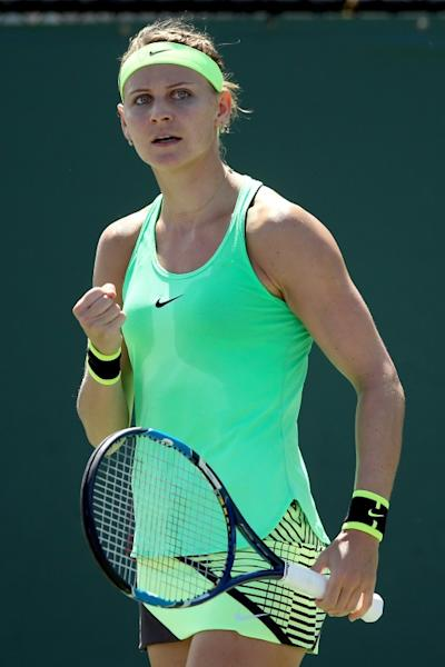 Lucie Safarova of Czech Republic celebrates a point against Dominika Cibulkova of Slovakia during their Miami Open 4th round match, at the Crandon Park Tennis Center in Key Biscayne, Florida, on March 27, 2017