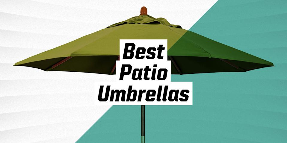 "<p class=""body-text"">Simply put, a patio umbrella is a must if you have outdoor furniture. On a practical level, they offer protection from the elements, so you can eat and lounge to your hearts content on 90-degrees days and during summer rainstorms. Since they're more of a need than a want if your goal is to spend the most time outdoors while the warm weather lasts, buying one is an opportunity to upgrade your space with a splash of color or eye-catching design. From retro striped umbrellas that'll transport you to the Riviera, to wide options perfect for a narrow deck, here are our recommendations to suit a range of setups and styles.</p><h3 class=""body-h3"">What to Consider </h3><p>Patio umbrellas, sometimes also called market umbrellas, can be freestanding or set inside tables with center holes. Typically, they're surrounded by—or set next to—seating areas, whereas <a href=""https://www.popularmechanics.com/home/g35699462/best-cantilever-umbrellas/"" rel=""nofollow noopener"" target=""_blank"" data-ylk=""slk:cantilever umbrellas"" class=""link rapid-noclick-resp"">cantilever umbrellas</a> are offset, with the base on the perimeter or outside the seating area. </p><p>The first detail to nail down is the umbrella's size. As a rule, it should be at least 2 feet wider than the edge of your dining table or the area you want to cover. They generally start at roughly 5 feet wide and go all the way up to 13 feet wide or more. The canopy's shape is another top consideration, along with the canopy's fabric. Most are made from polyester, olefin, or acrylic, or high-performance fabric, like Sunbrella, which is more durable, won't fade as easily, and does a better job of blocking the sun's rays. All offer varying degrees of water resistance. Umbrella frames are typically either powder-coated aluminum or wood. </p><p>Other features to consider include canopy tilt and rotation, plus the umbrella's opening and closing mechanism. Keep in mind that you'll likely have to pay extra for a stand, as the majority of patio umbrellas don't come with them.</p><h3 class=""body-h3"">How We Chose</h3><p>All of the patio umbrellas we cover have average user ratings of four stars or more, and the vast majority have 4.5-ratings or higher. Quality of materials drove our research—such as the canopy material and frame strength—plus we considered key features and weighed them against price, and pointed out picks that are an especially good value. You'll find a range of shapes and sizes below, ranging from budget to high-end. </p>"