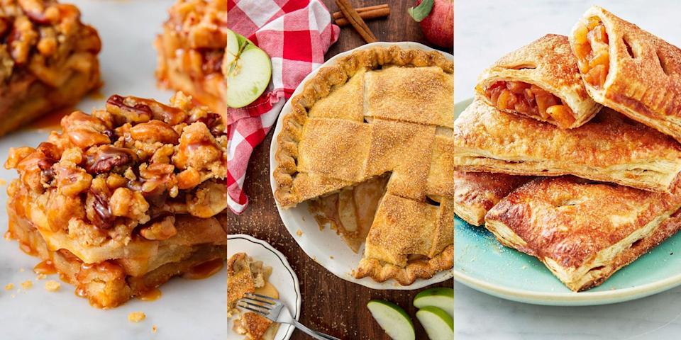"""<p>Apple pie, aka the most comforting, delicious and traditional dessert. And we love it as-is (our <a href=""""https://www.delish.com/uk/cooking/recipes/a32667262/best-homemade-apple-pie-recipe-from-scratch/"""" rel=""""nofollow noopener"""" target=""""_blank"""" data-ylk=""""slk:Classic Apple Pie"""" class=""""link rapid-noclick-resp"""">Classic Apple Pie</a> recipe is the bees knees), but have you ever tried any funky apple pie variations? You know, <a href=""""http://www.delish.com/uk/cooking/recipes/a33214266/apple-pie-cupcakes-recipe/"""" rel=""""nofollow noopener"""" target=""""_blank"""" data-ylk=""""slk:Apple Pie Stuffed Cupcakes"""" class=""""link rapid-noclick-resp"""">Apple Pie Stuffed Cupcakes</a>, <a href=""""https://www.delish.com/uk/cooking/recipes/a32833003/apple-pie-bars-recipe/"""" rel=""""nofollow noopener"""" target=""""_blank"""" data-ylk=""""slk:Apple Pie Bars"""" class=""""link rapid-noclick-resp"""">Apple Pie Bars</a> and even <a href=""""https://www.delish.com/uk/cooking/recipes/a32262439/crustless-apple-pies-recipe/"""" rel=""""nofollow noopener"""" target=""""_blank"""" data-ylk=""""slk:Crustless Apple Pie"""" class=""""link rapid-noclick-resp"""">Crustless Apple Pie</a>. Yep! There's a bunch of fun twists you can make to the traditional, family staple. And they couldn't be easier to do. So, if you're after a selection of easy apple pie recipes, check out some of our favourites now. </p><p>PSA: We've even got a recipe for <a href=""""https://www.delish.com/uk/cooking/recipes/a29756533/mcdonalds-apple-pie-recipe-del0313/"""" rel=""""nofollow noopener"""" target=""""_blank"""" data-ylk=""""slk:McDonald's Apple Pies"""" class=""""link rapid-noclick-resp"""">McDonald's Apple Pies</a>... </p>"""