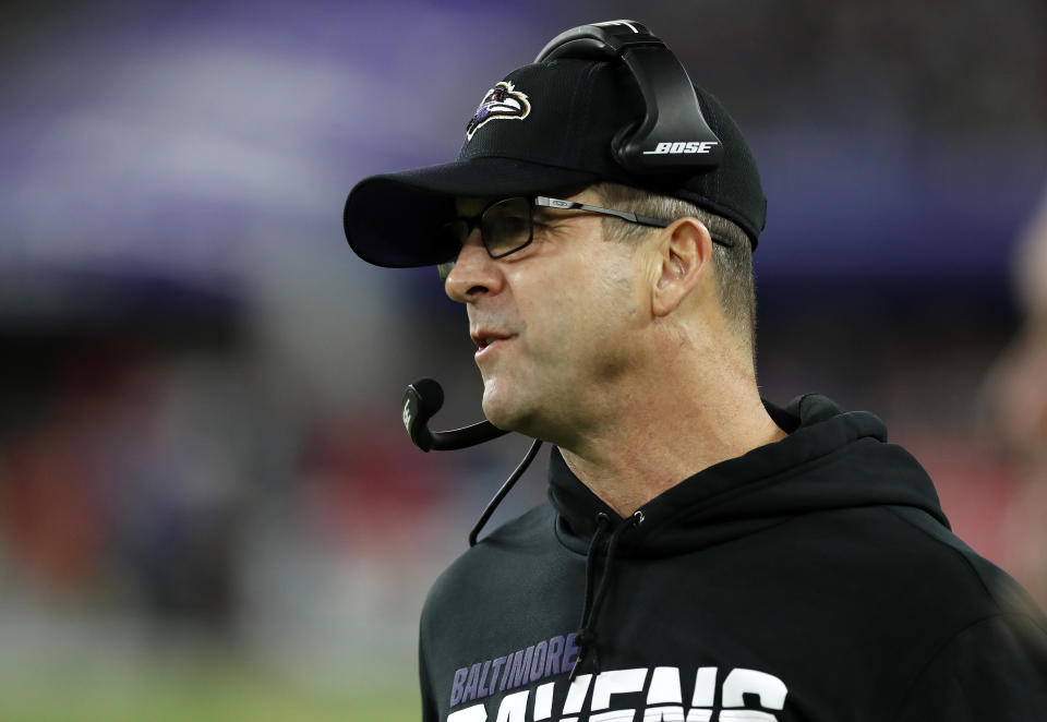 """John Harbaugh said he's """"confident"""" the NFL will play this fall before tamping down that assurance in the same statement. (Photo by Todd Olszewski/Getty Images)"""
