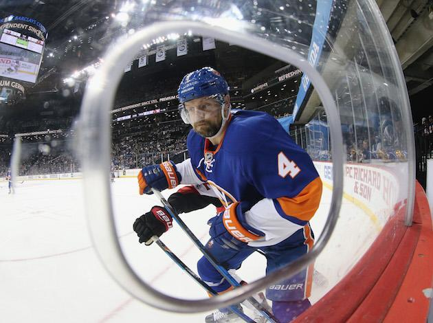 NEW YORK, NY – APRIL 09: Dennis Seidenberg #4 of the New York Islanders skates against the Ottawa Senators at the Barclays Center on April 9, 2017 in the Brooklyn borough of New York City. The Islanders defeated the Senators 4-2. (Photo by Bruce Bennett/Getty Images)