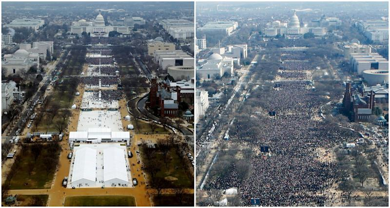 A combination of photos taken at the National Mall shows the crowds attending the inauguration ceremonies to swear in President Donald Trump, left, on January 20, 2017, and President Barack Obama, right, on January 20, 2009.