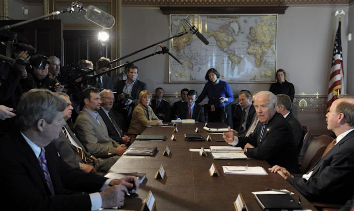 President Joe Biden gestures as he speaks during a meeting with Sportsmen and Women and Wildlife Interest Groups and member of his cabinet, Thursday, Jan. 10, 2013, in the Eisenhower Executive Office Building on the White House complex in Washington. Biden is holding a series of meetings this week as part of the effort he is leading to develop policy proposals in response to the Newtown, Conn., school shooting (AP Photo/Susan Walsh)