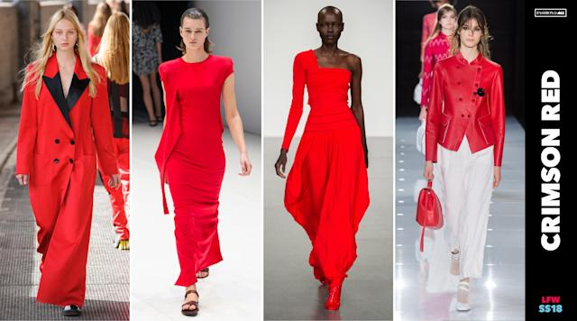 <p><i>London designers take a much darker, moodier, and possibly political approach this season incorporating splashes of crimson red onto dresses, coats, and blazers on the fringe of multiple violent terrorist attacks in the country. This color choice is also reminiscent of the attire worn on the Emmy award-winning, politically-charged show, 'The Handmaid's Tale.' (Photo: ImaxTree, Art: Quinn Lemmers for Yahoo Lifestyle) </i></p>