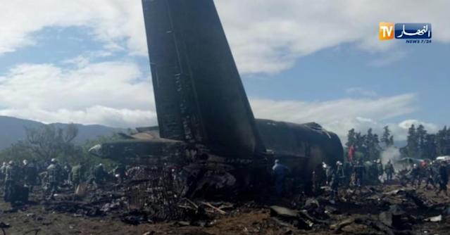<p>An Algerian military plane is seen after crashing near an airport outside the capital Algiers, Algeria April 11, 2018 in this still image taken from a video. (Photo: ENNAHAR TV/Handout/ via Reuters) </p>