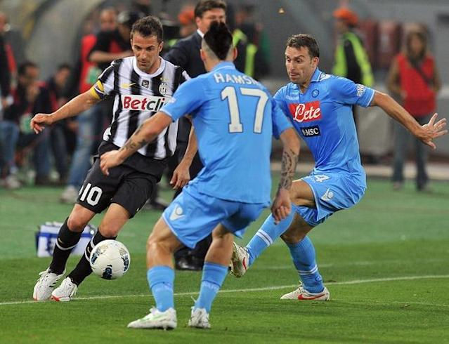 Juventus' forward Alessandro Del Piero (L) fights for the ball with Napoli's Slovak midfielder Marek Hamsik (C) and Napoli's Argentine defender Hugo Armando Campagnaro (R) during the final of the Cup of Italy Juventus vs Napoli at the Olympic Stadium in Rome on May 20, 2012. AFP PHOTO / GABRIEL BOUYSGABRIEL BOUYS/AFP/GettyImages