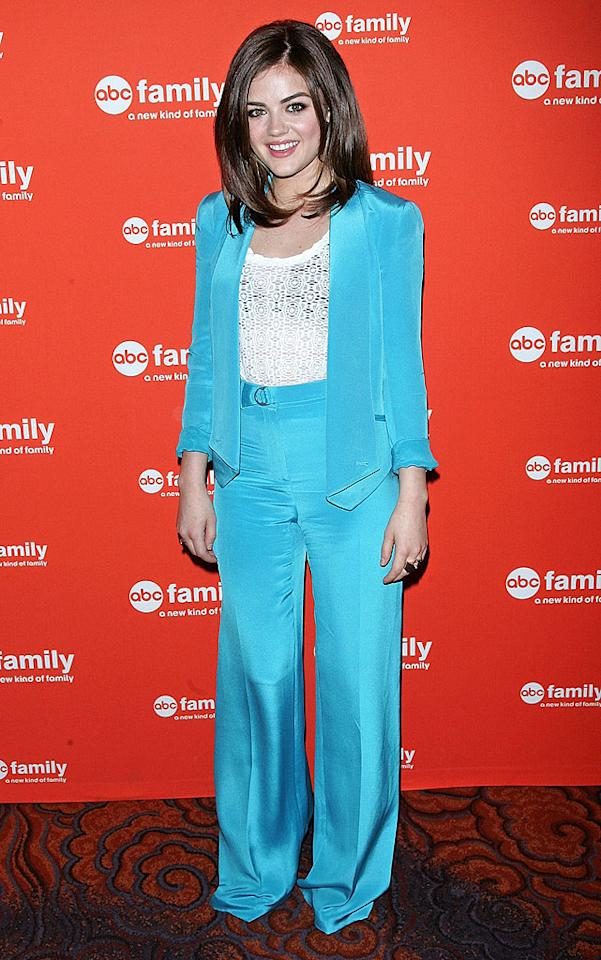 """""""Pretty Little Liars"""" star Lucy Hale stumbled down the arrivals line at ABC Family's upfront presentation in NYC on Monday afternoon. I wonder why. Could it possibly have anything to do with her being 5' 2'' in unhemmed Rebecca Minkoff suit pants fit for a six-footer? Just a thought. (3/19/2012)"""