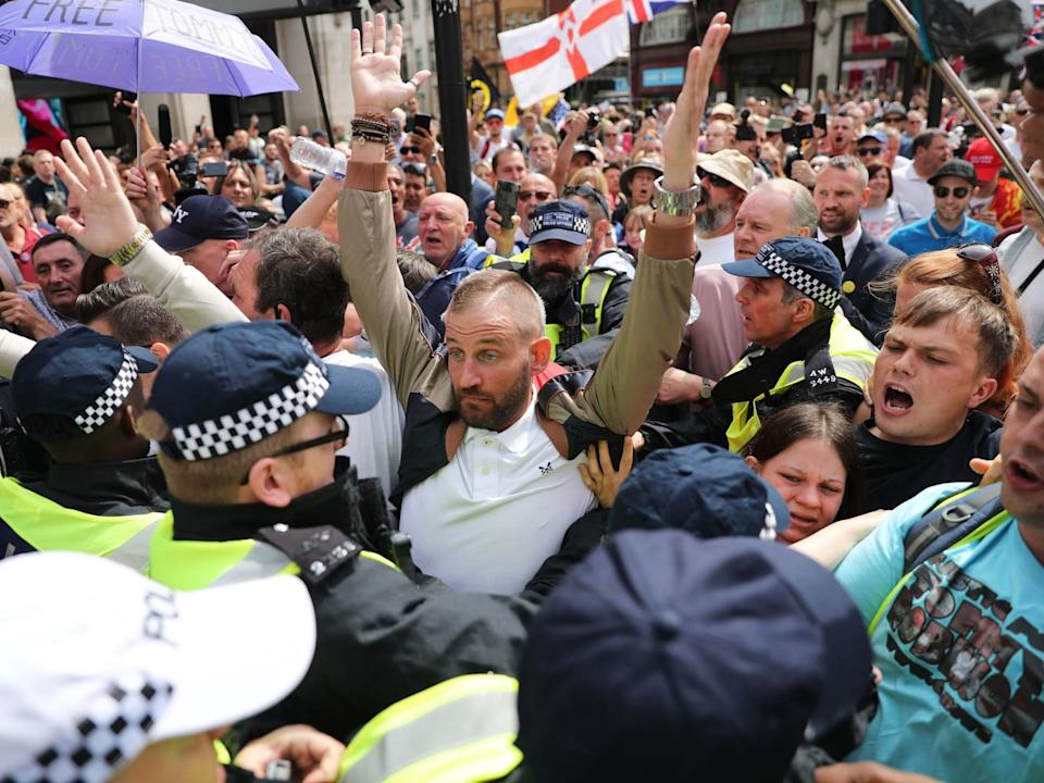 <p>Numbers at far-right protests peaked in 2018 and have not recovered after organisers had their mainstream social media accounts deleted</p> (PA)