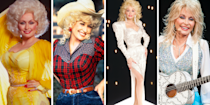 "<p>It's been over 50 years since her first album, <em><a href=""https://www.amazon.com/Hello-Im-Dolly-Parton/dp/B018J7YLJG?tag=syn-yahoo-20&ascsubtag=%5Bartid%7C10050.g.35033758%5Bsrc%7Cyahoo-us"" rel=""nofollow noopener"" target=""_blank"" data-ylk=""slk:Hello, I'm Dolly"" class=""link rapid-noclick-resp"">Hello, I'm Dolly</a></em>, came out in 1967, and<a href=""https://www.oprahmag.com/entertainment/a28134640/dolly-parton-favorite-books/"" rel=""nofollow noopener"" target=""_blank"" data-ylk=""slk:Dolly Parton is as relevant"" class=""link rapid-noclick-resp""> Dolly Parton is as relevant</a> as ever. Parton's<a href=""https://www.oprahmag.com/life/relationships-love/a25629890/dolly-parton-carl-thomas-dean-marriage/"" rel=""nofollow noopener"" target=""_blank"" data-ylk=""slk:accomplishments are numerous"" class=""link rapid-noclick-resp""> accomplishments are numerous</a>: She's a brilliant songwriter, a one-of-a-kind singer, a <a href=""https://www.dollywood.com/"" rel=""nofollow noopener"" target=""_blank"" data-ylk=""slk:theme park"" class=""link rapid-noclick-resp"">theme park</a> empress, a <a href=""https://www.oprahmag.com/entertainment/a29846345/hearstrings-dolly-parton-netflix-episodes-premiere-cast/"" rel=""nofollow noopener"" target=""_blank"" data-ylk=""slk:TV show creator"" class=""link rapid-noclick-resp"">TV show creator</a>, and the recipient of just about every award in music. Undeniably, Parton is also a style icon. The 73-year-old Tennessee-native has become just as famous for her over-the-top outfits as she has for her music. Let's take a whirlwind tour through some of her best looks. With any luck, some fabulousness will wear off.</p>"