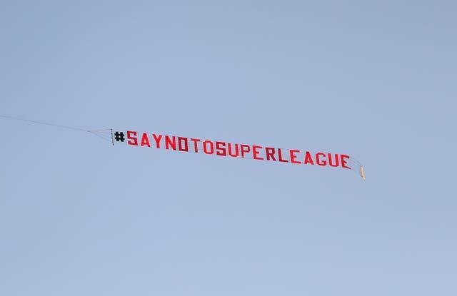 Protests against the European Super League saw Premier League clubs withdraw from the plans.