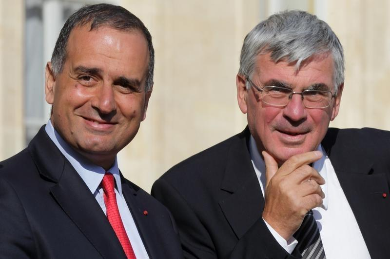 Herteman, Chief Executive Officer of Safran and Lahoud, Chief Strategy and Marketing Officer of Airbus Group leave the Elysee Palace in Paris