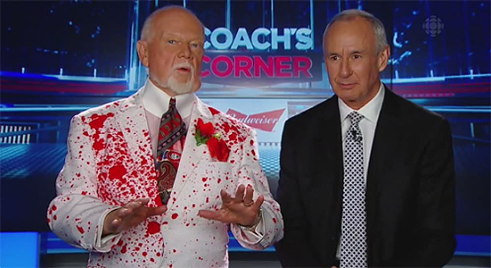 <p>Hockey Night In Canada host Don Cherry is well known for his eccentric style, but the suit he wore on Saturday night was, well, interesting.<br /><br />And seeing how Twitter rarely misses an potential meme opportunity, we've collected a few of our favourite social reactions to the new infamous blood-splatter suit. </p>