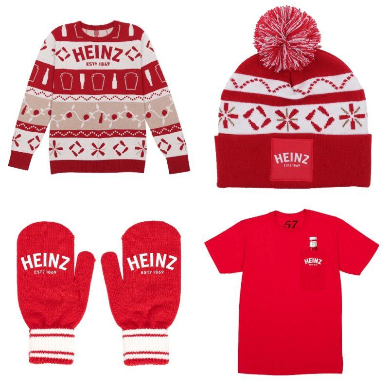 Heinz ketchup branded sweater, hat, mittens, and t-shirt