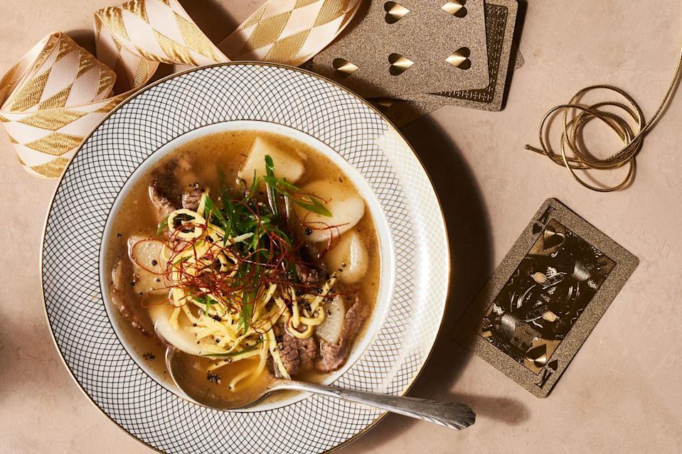 """Korean rice cakes add tender chew to this comforting soup from chef Sohui Kim. Got extra rice cakes after you've made the soup? They're also delicious seared or lightly grilled. <a href=""""https://www.epicurious.com/recipes/food/views/good-luck-beef-and-korean-rice-cake-soup-tteokguk?mbid=synd_yahoo_rss"""" rel=""""nofollow noopener"""" target=""""_blank"""" data-ylk=""""slk:See recipe."""" class=""""link rapid-noclick-resp"""">See recipe.</a>"""