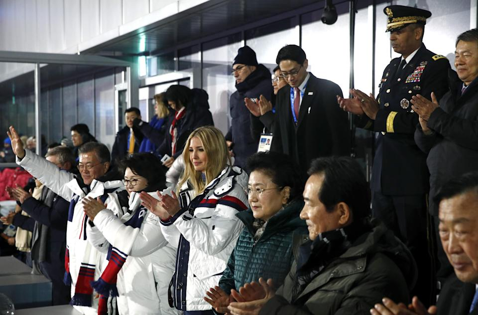 South Korean President Moon Jae-in, first lady Kim Jung-sook and Ivanka Trump applaud as athletes from North and South Korea walk together during the Closing Ceremony at PyeongChang Olympic Stadium on Sunday. (Getty Images)