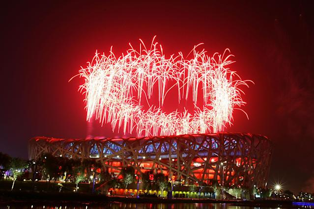BEIJING - AUGUST 24: Fireworks go off during the Closing Ceremony for the Beijing 2008 Olympic Games on August 24, 2008 in Beijing, China. (Photo by Al Bello/Getty Images)