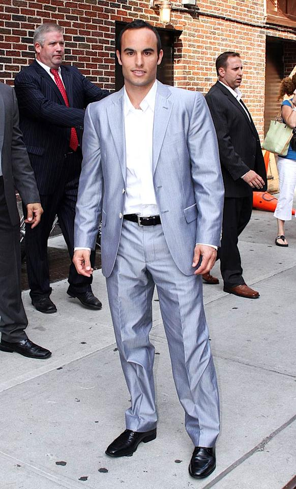 "Though he's out of the World Cup, Landon Donovan is still scoring points in the style stakes -- the soccer star showed up at ""Late Show With David Letterman"" sporting a dapper gray-blue suit paired with a crisp white shirt. Yum. Donna Ward/<a href=""http://www.gettyimages.com/"" target=""new"">GettyImages.com</a> - June 29, 2010"