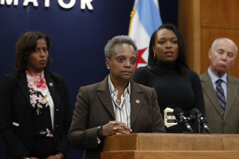 Mayor Lori Lightfoot speaks during a news conference at Chicago City Hall on Wednesday, Oct. 16, 2019. Lightfoot said classes would be canceled Thursday after determining that she can't accept the Chicago Teachers Union's demands, which she says would cost the city $2.5 billion it can't afford. Talks are expected to continue Wednesday. (Jose M. Osorio/Chicago Tribune via AP)