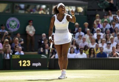 Serena Williams of the U.S.A reacts during her Women's Final match against Garbine Muguruza of Spain at the Wimbledon Tennis Championships in London, July 11, 2015. REUTERS/Toby Melville