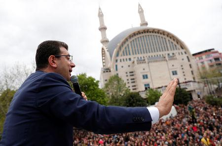 Ekrem Imamoglu, main opposition Republican People's Party (CHP) mayoral candidate, addresses his supporters during a gathering in Istanbul, Turkey, April 12, 2019. REUTERS/Murad Sezer