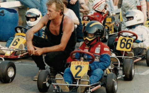 Jenson Button with his father at one of his early karting races - Credit: Jenson Button