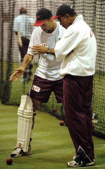 16 Nov 2000:  Captain Jimmy Adams of the West Indies chats with assistant coach Jeff Dujon during training at the MCG, Melbourne, Australia. Mandatory Credit: Hamish Blair/ALLSPORT