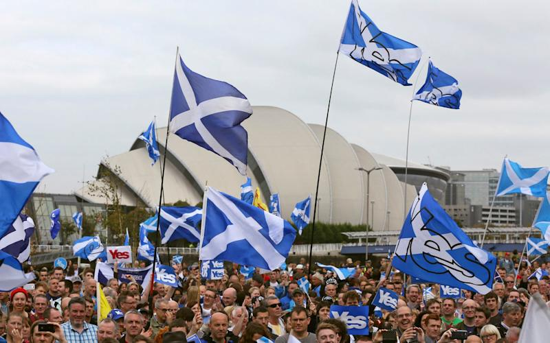 A 'Yes' rally in Glasgow - Credit: Reuters